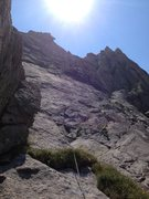 Rock Climbing Photo: Alex heading up p3. The German and The Scot goes u...