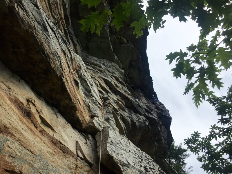 Rock Climbing Photo: P2 with upper traverse