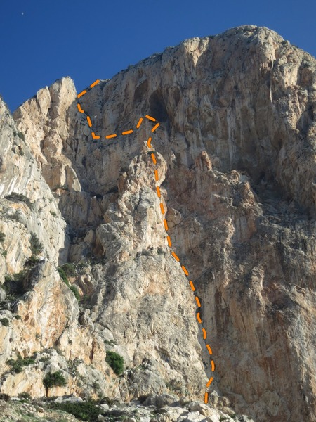 Rock Climbing Photo: Full route view with rough line of the route. The ...