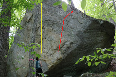 Rock Climbing Photo: The yellow line is the Remedy Project. Follow smal...