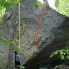 The yellow line is the Remedy Project. Follow small holds going up the middle of the face.<br> <br> The red line is State of Fear (V7)