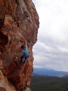 Rock Climbing Photo: Jen after the first mantel.