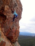 Rock Climbing Photo: Getting to the good holds before the second mantel...