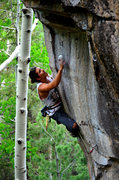 Rock Climbing Photo: Enrico Saladino fighting hard at the top of Chasin...