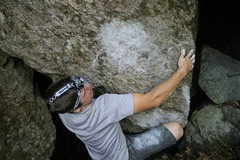 Rock Climbing Photo: The crux slap coming out of the cave!