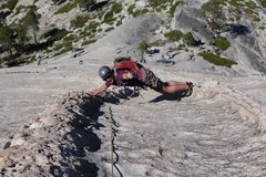 Rock Climbing Photo: Extreme stemming on Snake Dike.  Thanks Jason Hall...