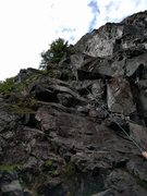 Rock Climbing Photo: Rope on P1/2 of I wanna go home. 2ne line in back ...