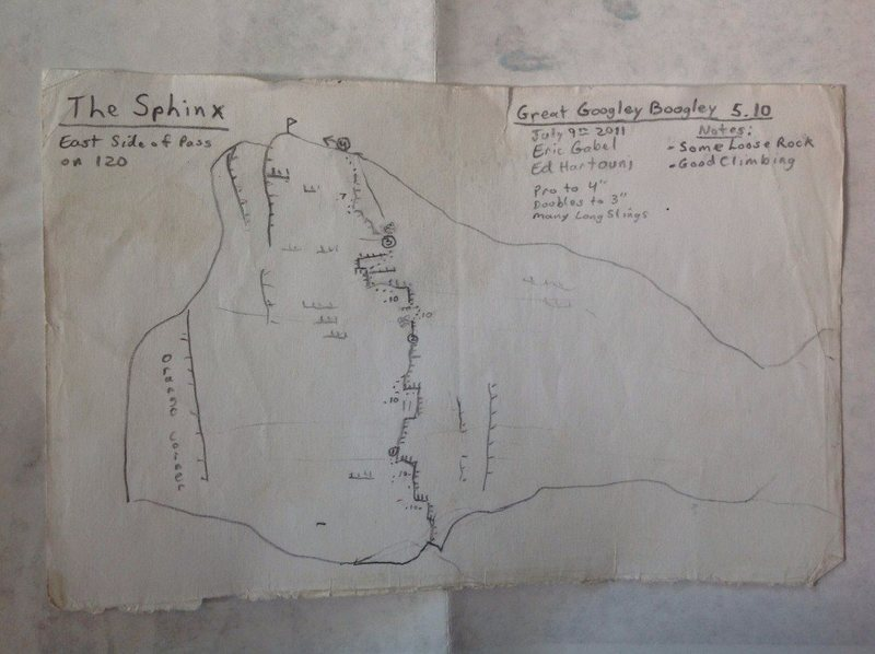 "Rock Climbing Photo: Hand-drawn topo of the ""Great Googley Boogley..."
