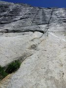 Rock Climbing Photo: Holdless Horror. Start in the grass and follow the...