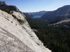 Rock Climbing Photo: Tenaya Lake from the upper pitches of Dozier Dome.