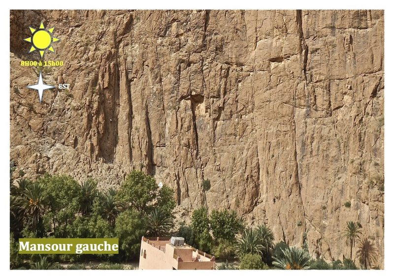 Climbing in Morocco  Escalade au Maroc<br> Guidebook climbing in the Todra gorges <br> Mansour gauche