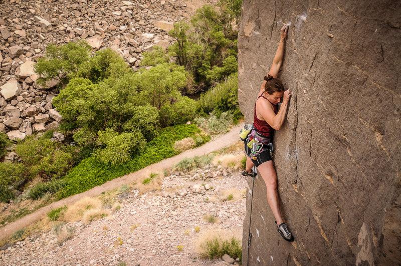 Rock Climbing Photo: Lauran seems to be enjoying The Gorge.