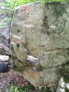 Rock Climbing Photo: Variation 2  Blue are starting holds, red are the ...