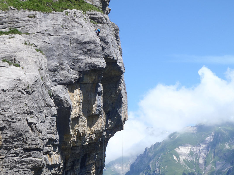 Two climbers at the top of Blauer Kaefer, from the top of Kontinuum. Shows the steepness of the abseils below!