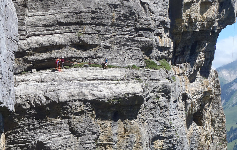 Rock Climbing Photo: Casual traverse at the top to get to the abseilpis...