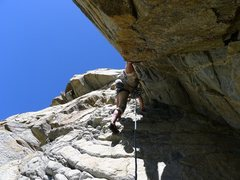 Rock Climbing Photo: Eric Gabel stemming up the 1st pitch (5.10) of the...
