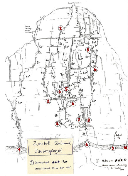 Routes on the Zuestoll peak