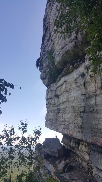 Rock Climbing Photo: Climber shortly after 'the move' on P2. Ab...