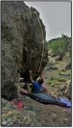 Rock Climbing Photo: Start position and beta of Air Tracks.