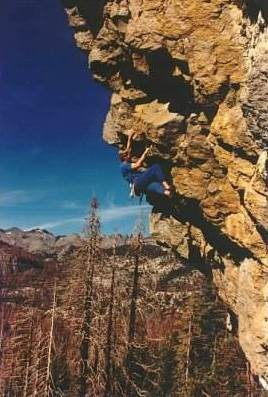Todd Graham on the first ascent of Jagged Sky, .12a, 1995.