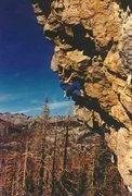 Rock Climbing Photo: Todd Graham on the first ascent of Jagged Sky, .12...