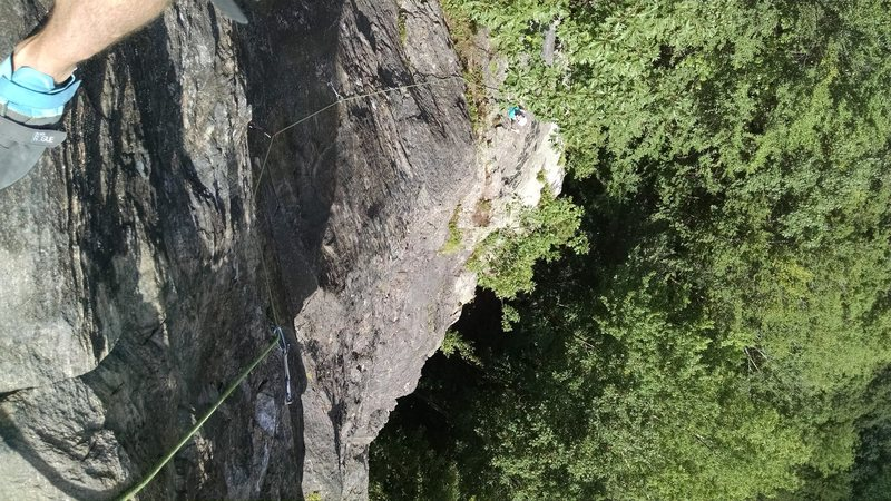 Rock Climbing Photo: looking down at KLS from top of second pitch