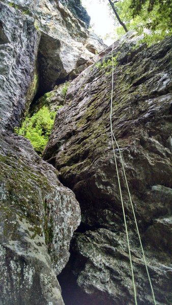 photo taken after the climb. the route follows closer to the left side of the face the rope is mostly on