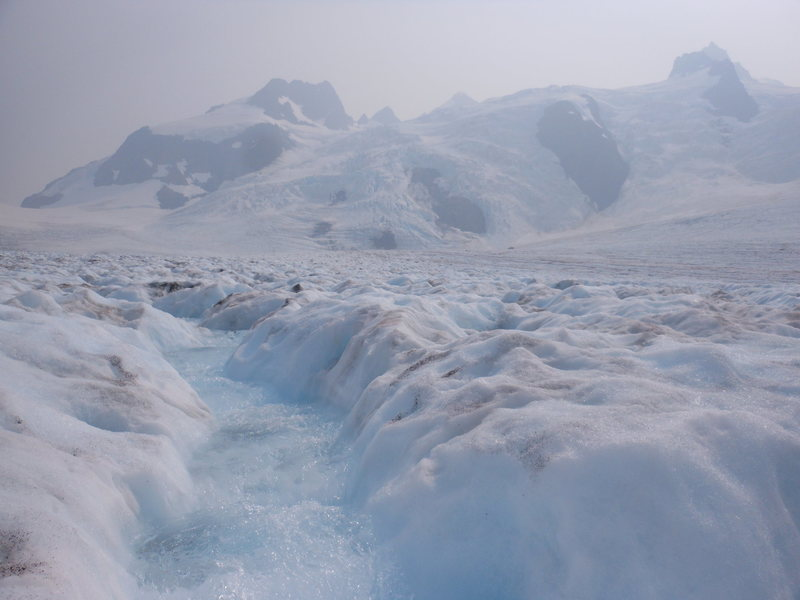 Crossing the Blue Glacier in early July, 2015