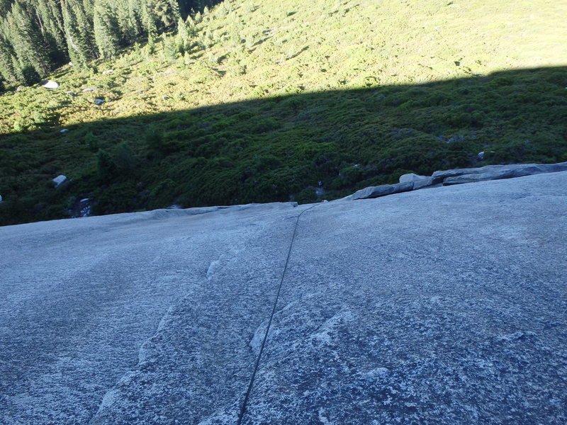 Rock Climbing Photo: Looking down P1 of Crystal Chute.