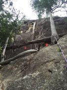 Rock Climbing Photo: Topo for Jakuten Shugi (left) and Moralist (right)