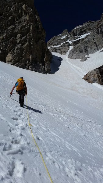 Couloir above the Middle Teton Glacier to the Black Dike Col, July 15, 2016
