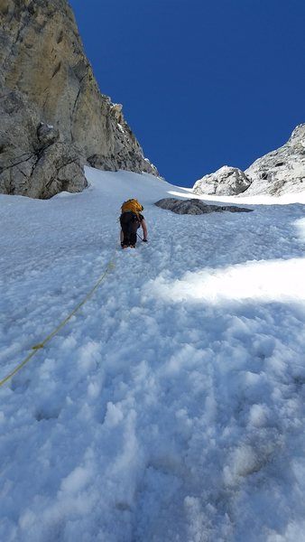 Steepness of the Couloir above the Middle Teton glacier heading to the Black Dike Col, July 15, 2016.