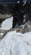 Rock Climbing Photo: Steep snow on the upper section of the Middle Teto...