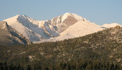 Rock Climbing Photo: View from the living room of Mt. Meeker and Longs ...