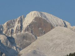 Rock Climbing Photo: East face pf Longs Peak in April of 2012 from Pine...
