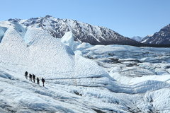 Rock Climbing Photo: Group hiking up toward the top of the icefall