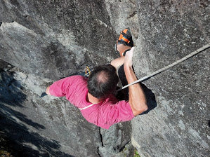 Rock Climbing Photo: Jon at the knee bar rest after the steep corner.