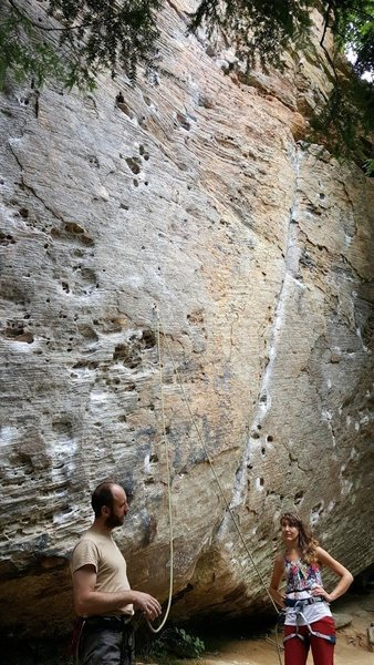 Pulling Pockets (5.10+) to the left of the crack