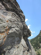 Rock Climbing Photo: Start of P3; view from the airy pulpit belay.
