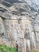 Rock Climbing Photo: Beginning of the route, heading up the bolts