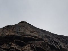 Rock Climbing Photo: Upper half of the route, plugging gear in the hori...
