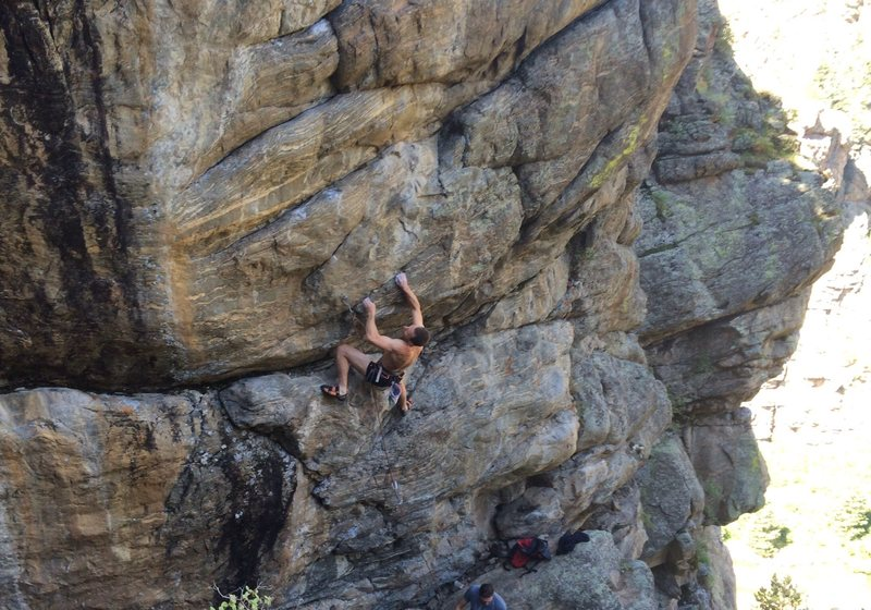 Rock Climbing Photo: Big, steep moves from the get-go on this beast.  C...