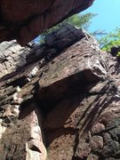 Rock Climbing Photo: See the two upper cracks?  That's where you&#3...