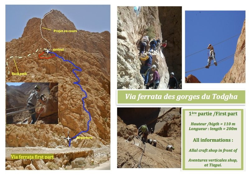 Climbing in Morocco Escalade au Maroc <br> Guidebook climbing in Todra gorges <br> Via ferrata