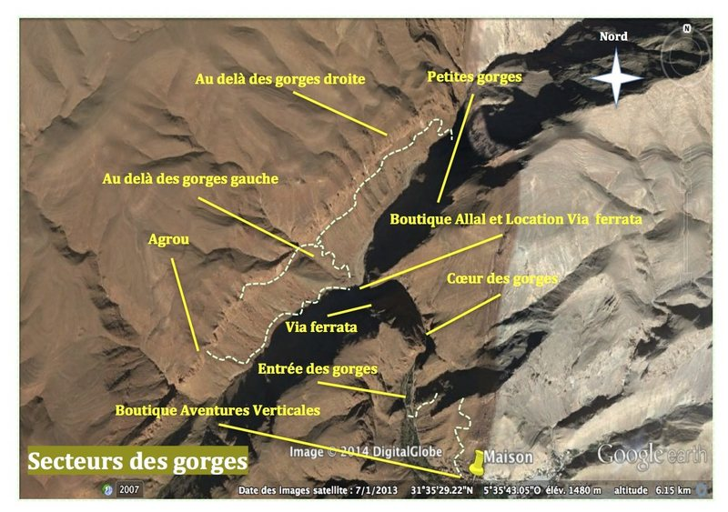 Climbing in Morocco Escalade au Maroc <br> Guidebook climbing in Todra gorges <br> Overview of gorges