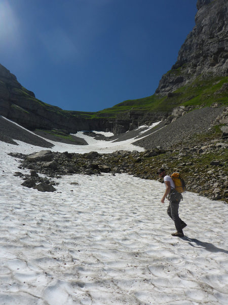 Snow patches on the approach in July, good for poor planners who don&@POUND@39@SEMICOLON@t take enough water..