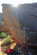Rock Climbing Photo: The big move up from the horizontal where the prob...