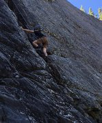 Rory Davis on his 10th birthday on the first ascent of Chubble's Crack
