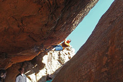 Rock Climbing Photo: Moving towards the top of the problem, photo by Cr...