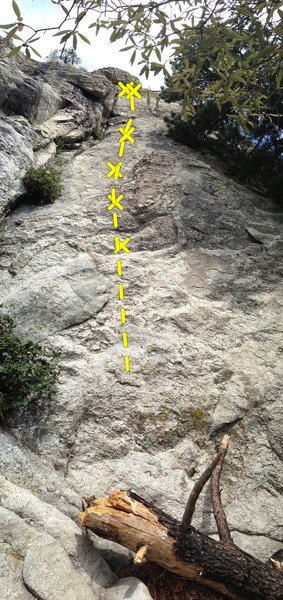 Rock Climbing Photo: Topo for Sword in the Stone.  Bolt count not accur...